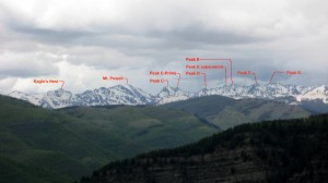 Ripsaw Ridge (Peak C - Peak G) from Meadow Mtn near Minturn in May, 2009