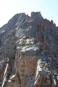 Our approximate route up Peak D's north ridge
