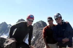 Peak D summit (13,047') w/ a subsummit of Peak E, Peak E itself, & Peak G behind (right to left)