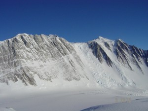 Mt. Vinson's summit pokes over the west face just left of center