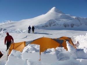 High Camp on Mt. Vinson with Mt. Shinn, Antarctica's 3rd highest peak, in the background