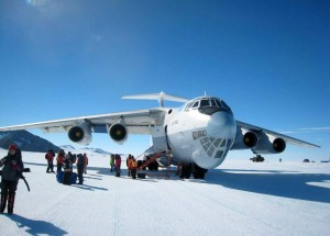The Ilyushin-76 aircraft here at Union Glacier is the only reasonable means of getting from Punta Arenas, South America to the Mt. Vinson region of Antarctica