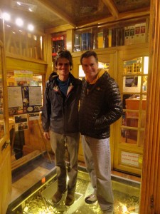 Our first night in Punta Arenas - Kev & I outside La Luna restaurant