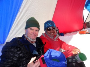 Kev & Namyga in the High Camp cook tent