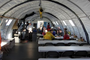 Inside the awesome dining tent at Union Glacier