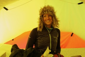 Kristine in our clam tent with her Antarctica hat