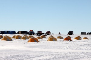 The staff tents and vehicles at Union Glacier