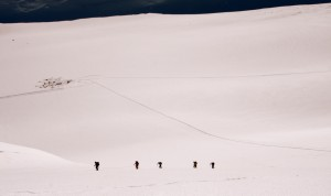 The other teams ascending Ski Hill above Vinson Base