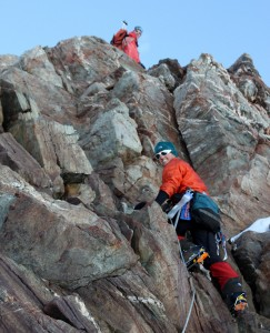 Scrambling in Millet boots & crampons all the while dealing with a rope - a bit different for us