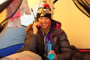 Kristine on the sat phone at High Camp