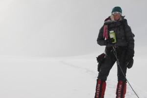 Kristine on the snowy slog back to Vinson Base