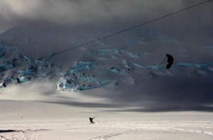 The auto-contrast makes this one look pretty cool of Hollywood kite skiing around Vinson Base