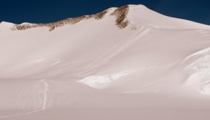 Our tracks up/down Ski Hill as seen from Vinson Base