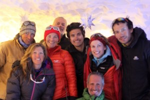 Some of our crew in the man-made ice cave at Union Glacier