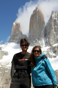 Kristine & I at the base of the magnificient towers on a wonderful weather day
