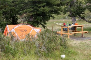 Our little camp for three nights near Las Torres Hotel in Torres del Paine National Park