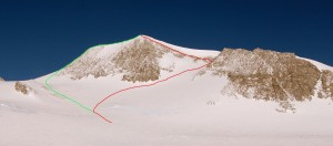 Red is our ascent of the north bowl - west ridge and green is our descent of the standard east ridge