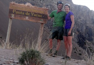 Kristine & I back at the Vacas trailhead after a 27 mile hike out from Plaza Argentina in 10 hrs