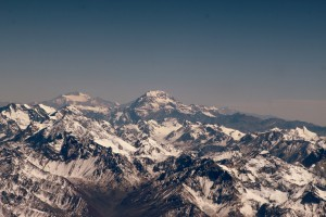 Aconcagua's south face as viewed on the flight from Santiago, Chile to Mendoza, Argentina
