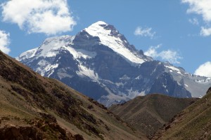 Aconcagua &amp; its Polish Glacier wrapping to its summit towering almost 13,000' above us in the Vacas Valley