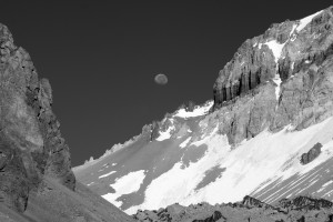 Moon over the Ameghino/Aconcagua col en route to Camp 1
