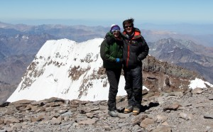 Aconcagua summit (22,841') with the south face falling away behind