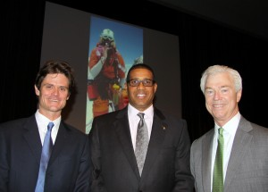 Left to right: Me, Mark Reed (CCDS Head of School), and my dad, John Chalk, in the theater before the presentation. A picture of Kristine on Everest is on the screen in the background