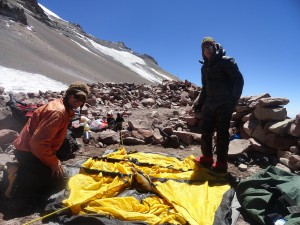 Brett & Brandon setting the tent up at Camp 2