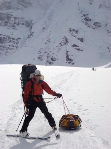 J leaving 7,200' Denali Base Camp in June 2007 on his K2 ski/Silvretta binding setup wearing his Koflach mountaineering boots - the same setup I used for the 2013 Vail Uphill race