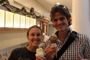 Yum...Maura & Brandon endulge in dulce de leche ice cream!