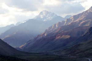 The Mendoza-Santiago highway and a large peak