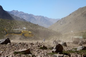 Helicopter landing at Pampa de Lenas on the morning of day 2