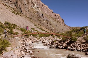 Crossing the Vacas River on the morning of day 2