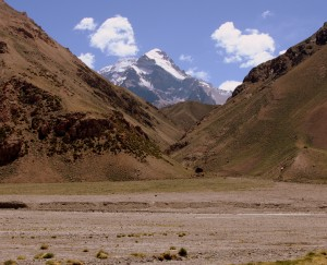 First views of Aconcagua from the Vacas Valley