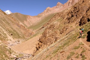 Brett & Maura hiking up the Relinchos Valley trail with Aconcagua's summit towering above on the far left