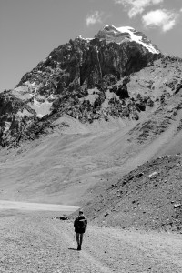 Me on the final approach to Plaza Argentina with Aconcagua towering above