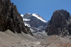 The route to Camp 1 at 16,200' yields good views of Aconcagua's lower east face below the Polish Glacier