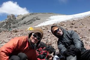 Brandon & Brett at camp 2 (19,200') at the base of the Polish Glacier