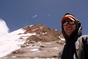 Brett at camp 2 with Aconcagua's summit 3,600' above