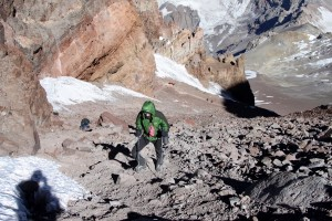 Me finally in the sun climbing the Canaleta to Aconcagua's summit. We got out in front of all the groups on the mountain that day and were the first to top out