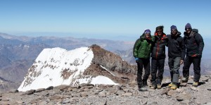 Aconcagua's summit with our friends we met at Camp 2 from Denver, Tom, & Eric, who arrived on top shortly after we did