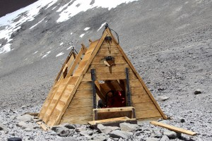 The highest man-made shelter in the world, the Independencia Hut, at 21,000'