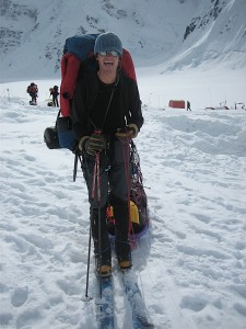Me leaving 7,200' Denali Base Camp in June 2007 on my Solomon ski/Silvretta binding setup  wearing my Koflach mountaineering boots