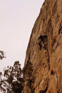 Celeste in the thick of it on Ripped (5.10b), a trad crack in which Jesse & Matt led