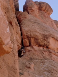 Me leading the 5.8+ Pitch 2 of Otto's Route up the obvious off-width chimney