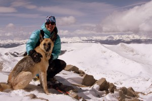 Lauren &amp; Scout on Mt. Lincoln's summit (14,286')
