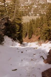 The lower section of the couloir - avalanche debris everywhere