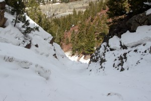 Looking down the couloir to the 1st crux below