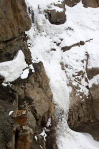 The icefall of the 3rd crux was the largest - maybe 35' in height. 