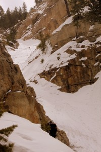 J working his way back into the couloir proper above the 3rd crux